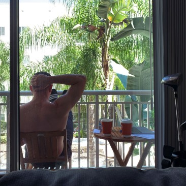 Jack Burns relaxing on his porch in Tampa, Florida.